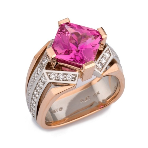 Deco Pink Sapphire and Diamond Rose Gold and Platinum Ring