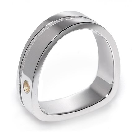Paragon Grooved White Gold Men's Wedding Band