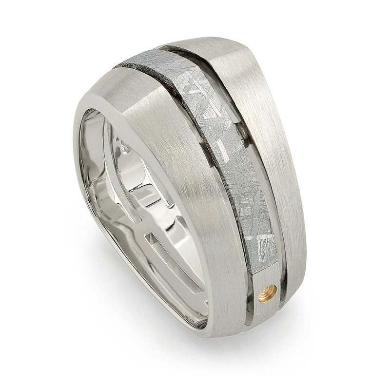 Deco White Gold and Meteorite Men's Wedding Band