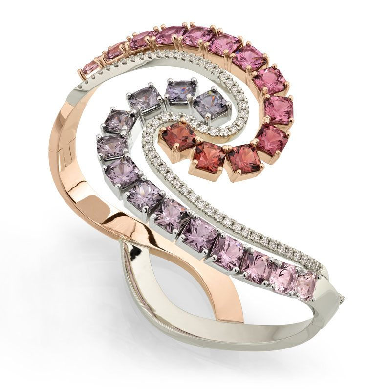 Affinity Diamond and Multicolored Spinel Gold and Platinum Bracelet