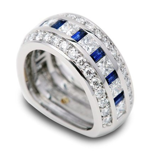 Eternity Blue Sapphire and Diamond Platinum Ring